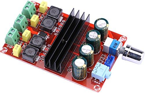 Yeeco 100W + 100W Digitale Endverstärkerbrett High Power Audio Sereo Verstärkermodul DC 12-24V Stereo AMP für Auto Fahrzeug Auto Computer-Audio-System DIY-Lautsprecher mit Einstellen der Lautstärke-Regler Doppel Chips Heatsink (Verstärker Bord)