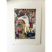quadro moderno la battaglia con cavallo 29x20 cm su tela con passepartout alessandro siviglia opera certificata retouche con acrilico