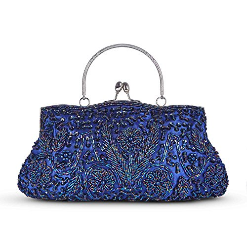 Damen Handgemachte Perle Handtasche, Abendtasche Damen Clutch Für Party, Hochzeit (Blau) (Handtasche Handgemachte)