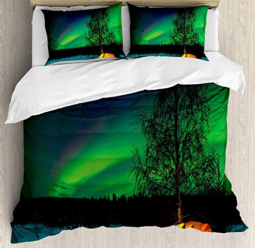 LIS HOME Northern Lights Bettbezug-Set, Campingzelt unter Magnetfeld Natur Bild, 3-teiliges Bettwäscheset mit Kissen-Shams, Queen/Full, Limettengrün, dunkelblaues Erdgelb