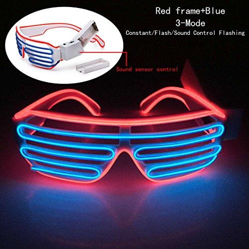 Preisvergleich Produktbild Enjoydeal EL Draht LED leuchten Shutter Wayfarer Rave Brille W£¬Sound Adjustment£¬Roter Rahmen und Blau