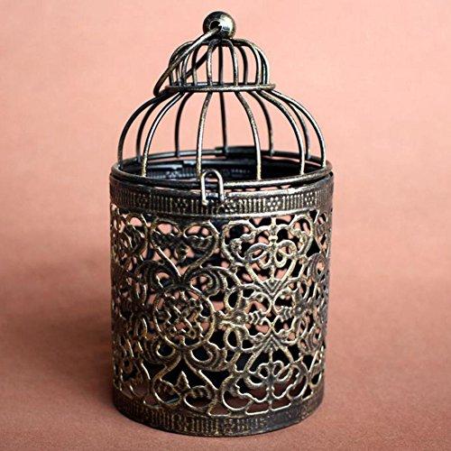 Hacoly Hollow pájaro jaula Candelabro Vintage Pajarera