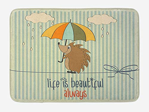 eb2e74d9c92d Icndpshorts Quotes Bath Mat, Hedgehog with Umbrella Under Rain and Phrase  Life is Beautiful Always Art Print, Plush Bathroom Decor Mat with Non Slip  ...