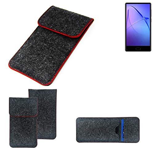 K-S-Trade® Filz Schutz Hülle Für -Leagoo KIICA Mix- Schutzhülle Filztasche Pouch Tasche Case Sleeve Handyhülle Filzhülle Dunkelgrau Roter Rand