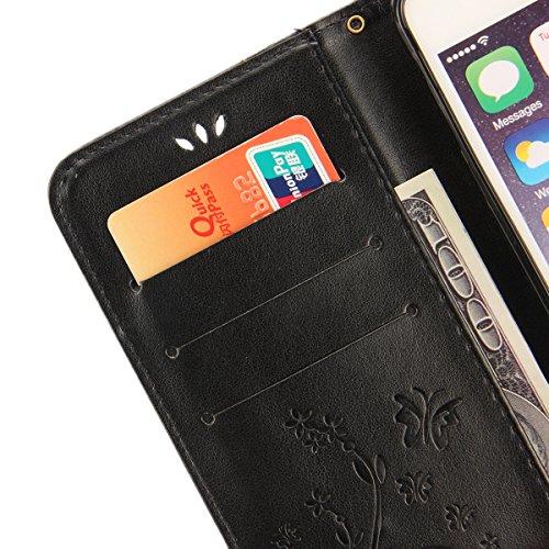 EUWLY Protettiva Case Cover per iPhone 7 Plus/iPhone 8 Plus (5.5) Custodia Portafoglio in PU Pelle Cover Elegant Premium PU Leather Wallet Cover Goffratura Farfalla e Fiore Rosa Design Pelle Custodia Nero