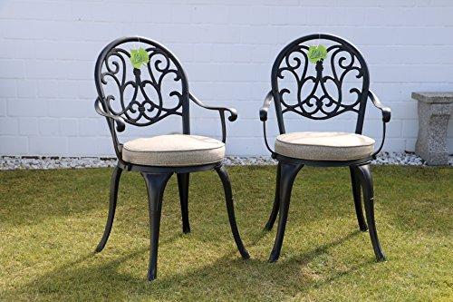 Made for us 2 Gartenstühle aus wetterfestem Aluguss mit UV beständiger AkzoNobel Einbrennlackierung. Inkl. 2 waschbaren Sitzkissen. Original