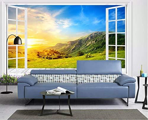 Gewohnheit Irgendeine Größe Boden-zu-Decke Windows Alpine Landschaft 3D Tv Hintergrund Wand Wandaufkleber Ausgangsdekor Tapete Wandbild