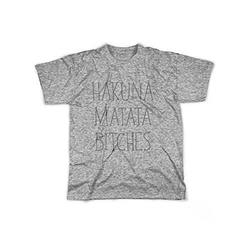 licaso Männer T-Shirt mit Aufdruck in Grau Gr. L H&M Bitches Design Boy Top Jungen Shirt Herren Basic 100% Baumwolle Kurzarm (Dschungel-print-outfit)