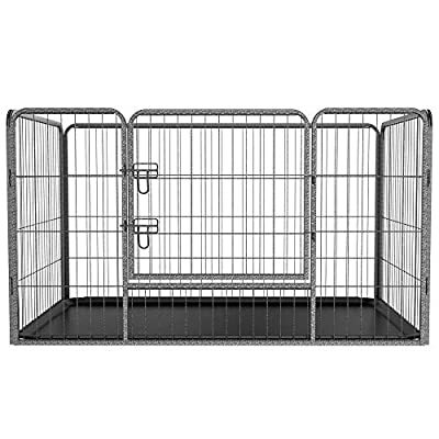 Yaheetech Foldable Puppy Dog Cage Fence Metal Pet Enclosure Kennel Cage With Tray Black by Yaheetech