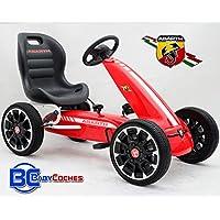 Babycoches Kart de Pedales - Coche de Pedales - Go Kart - Fiat Abarth, Ruedas neumaticas, carenado de Proteccion, Freno de Mano, Asiento Regulable, Color Rojo