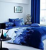 Catherine Lansfield Bettwäsche-Set CityScape, Stadtbild-Motiv, blau, Single Quilt