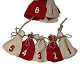 Adventskalender Jutesäckchen rot weiss - Girlande zum Befüllen