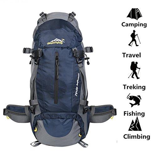 Imagen de  impermeable 50l  con cubierta de lluvia para deportes al aire libre senderismo trekking camping viajes montañismo escalada aventura azul oscuro