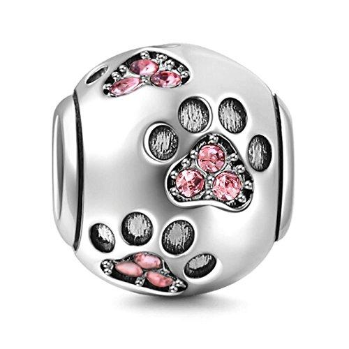 Charm in argento Sterling 925 a forma di zampa di cucciolo,ideale per un regalo di compleanno, compatibile con bracciali Pandora rosa