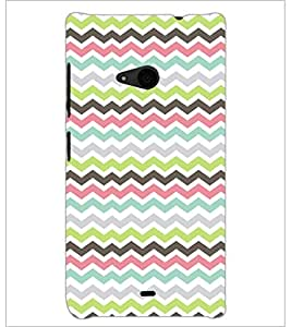 PrintDhaba Zig-Zag pattern D-2025 Back Case Cover for MICROSOFT LUMIA 535 (Multi-Coloured)