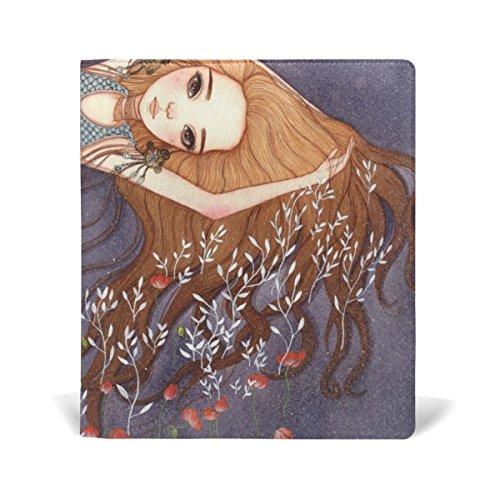 mydaily Meerjungfrau und Poppy Flower wiederverwendbar Leder Buch 22,9x 27,9cm für mittlere bis Größe Jumbo Hardcover Schulbücher lehrbüchern.