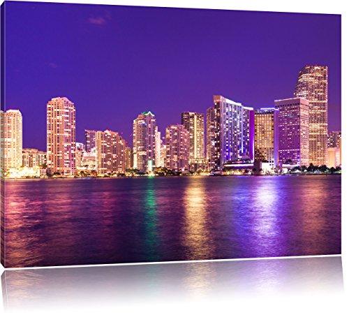 Bella scena di notte skyline di Miami in Florida, formato: 100x70 su tela, XXL enormi immagini completamente Pagina con la barella, stampa d'arte sul murale con telaio, più economico di pittura o un dipinto a olio, non un manifesto o un