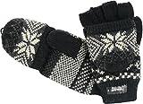 Handschuh mit Klappe und Norweger Muster Thinsulate für Damen, Farben:schwarz, Handschuhgröße:One Size
