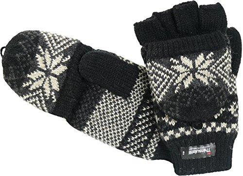 Handschuh mit Klappe und Norweger Muster Thinsulate für Damen, Farben:schwarz, Handschuhgröße:One Size (Thinsulate Damen Handschuhe)