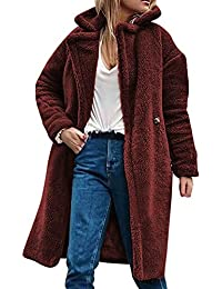 CIPOPO Frauen Wintermantel, Damen Langer Cardigan Trenchcoat Parka  Teddyjack Teddy-Fleece Mantel Warme Verdickte Flauschige Mantel… bd4b22f80c