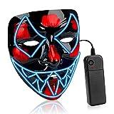 AnseeDirect Maschera Horror Maschera LED Halloween Maschera Venom Mask Cosplay LED Costume Maschera Horror con El Wire Light Up Mask per Halloween Vacanze Party Idea Regalo
