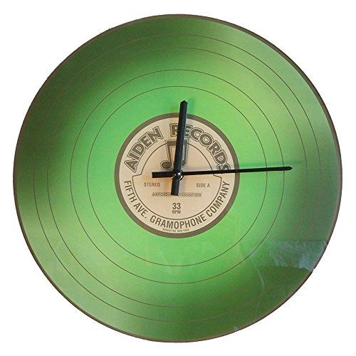 Vinyl Wand Uhr Schallplatte LP aus Glas Grün Aiden Records Ø 36 cm