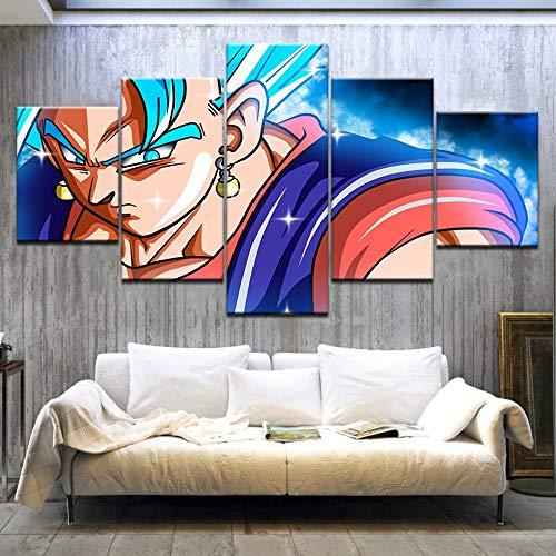 juntop 5 Stuk HD Gedrukt Super Saiyan Blauw Vegito Vs WHIS Dragon Ball Cartoon Canvas Art Schilderen per La Casa Vivono Kamer(Sin Marco)