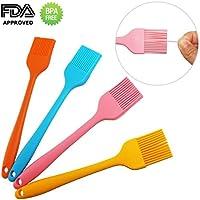 Pinceles de Silicona de Calidad Profesional, 21cm(Set de 4, Colorido) Resistente al Calor, Aprobado por FDA, Barbacoa Pinceles para Hornear y Cocinar