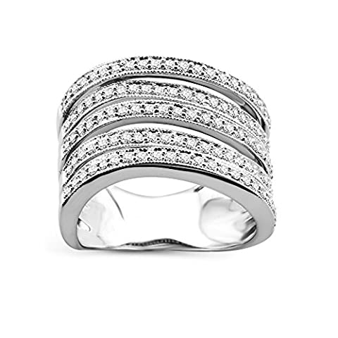Diamada Femme or blanc en diamant bague 9kt (375) brillant 0.5cts