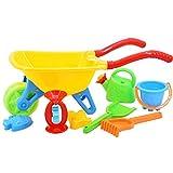 deAO Kids carriola da giardinaggio e mare Beach Play set per attività all' aperto con accessori inclusi secchio, Spade, rastrello