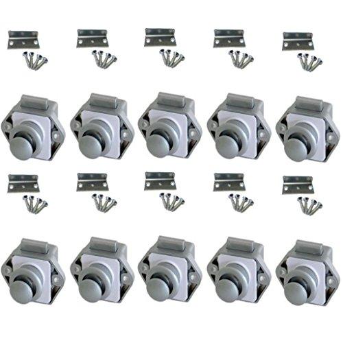 Preisvergleich Produktbild Push Lock Schlösser - Mini - 26mm Rosette+Knopf - 10er Set - silber
