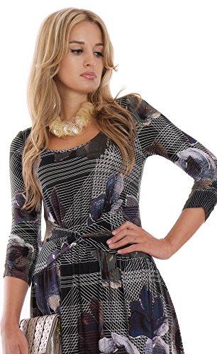 Elegantes Langes Damenkleid Herbstkleid Maxi fuer Grosse Damen MontyQ Boutique Mehrfarbig