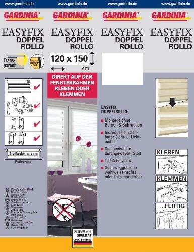 GARDINIA Doppelrollo zum Klemmen oder Kleben, Duo-Rollo/ Seitenzugrollo, Transparente und blickdichte Streifen, Alle Montage-Teile inklusive, Weiß, 120 x 150 cm (BxH) - 9