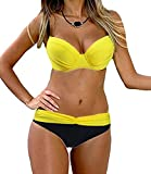 DODOING Damen Bikini Push Up Gepolstert Streifen Tupfen Triangel Brasilianische Bademode Bikini-Sets Beachwear Swimsuits