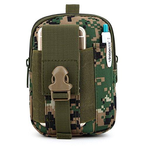U-times Marsupio custodia smart portafoglio tattico in nylon per sport all'aperto molle EDC , Uomo, Jungle Camouflage, S