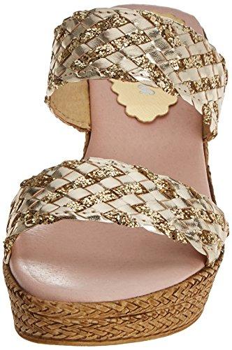 Menorquísima Damen 30087305 Wedge Sandalen silber (Glitter Platin)