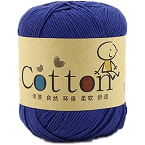 Una matassa Super morbido in cotone naturale filato zaffiro blu - Naturale Di Cotone Per Cucire