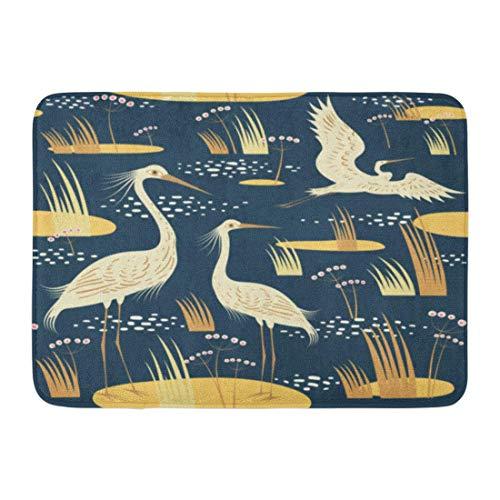 LIS HOME Fußmatten Bad Teppiche Outdoor/Indoor Fußmatte blaues Wasser Watvögel rosa Sumpf Reiher Liebe Marsh River Badezimmer Dekor Teppich Badematte -