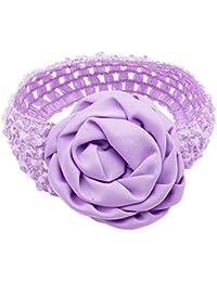 NeedyBee Purple Flower Crochet Headband for Newborn and Baby Girls