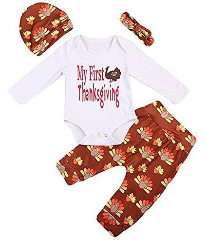 Ibelive 4Pcs Neugeborene Baby-Jungen-Danksagungs-Ausstattungs-Türkei-lange Hülse Spielanzug + Hosen mit Hut und Stirnband (100cm(12-18months))