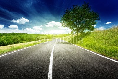 "Poster-Bild 50 x 30 cm: ""asphalt road in Tuscany, Italy"", Bild auf Poster"