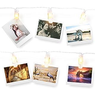 AFAITH LED Foto Aufhängen Clips Lichterkette, Foto Clip Lichterkette (40 LEDs) - Warm Weiß, perfekte Passform Raum Dekoration/Weihnachten/Party Foto Halter mit Clips TG031