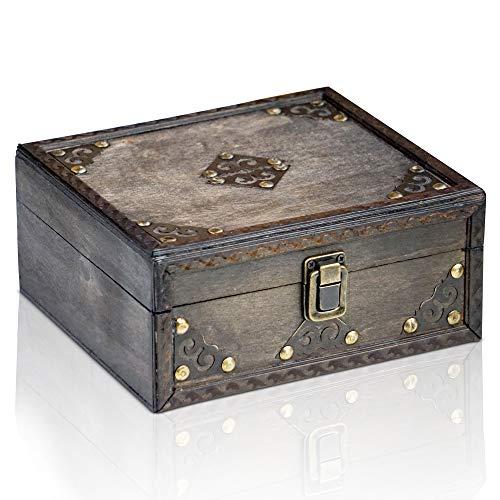 Brynnberg-Caja-de-Madera-Monk-20x18x9cm-Cofre-del-Tesoro-Pirata-de-Estilo-Vintage-Hecha-a-Mano-Diseo-Retro-joyero