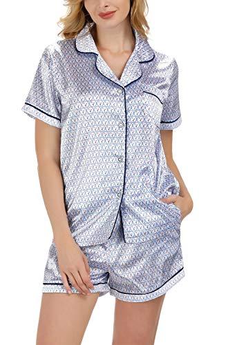 Schlafanzug Damen Seide Button-Down Printed Pyjama Kurz Set Pj Tops mit Pyjama Shorts Satin Weiß-Flamingo XXL - Button-down Pj Set