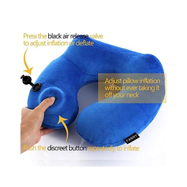 FANRY Oreiller de voyage doux Oreiller gonflable Support-compact et léger pour dormir sur Avion, voiture, train et. Transport Bag-soft et Conception ergonomique Taille unique, Invention de l'année 2014