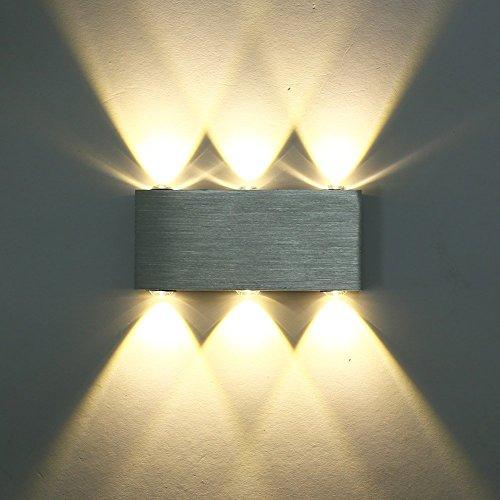 Glighone 6W LED Wandleuchte Innen Up Down modern Wandlampe aus Aluminium für Wohnzimmer Schlafzimmer Treppenhaus Flur, Warmweiß