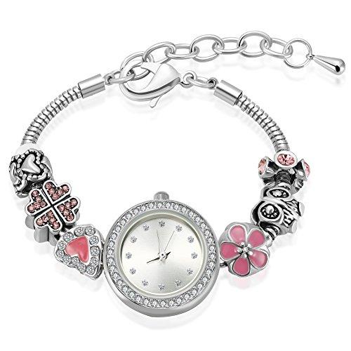 MANBARA Silber der damen Tonrhinestone Armband-Uhren Geschenk Schmuck (rosa Klee) Fräulein Klee