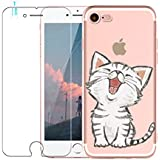 iPhone 7 / iPhone 8 Hülle mit Panzerglas, Blossom01 Cute Funny Kreative Cartoon Transparent Silikon Bumper für iPhone 7 2016 / 8 2017 - Kätzchen