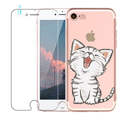 Coque iPhone 5, Coque iPhone 5S, Coque iPhone SE [avec film de protection d'écran en verre trempé], Cute TPU Souple Etui de Protection [absorbant les chocs] [Ultra mince] pour iPhone 5 5S SE, Chats