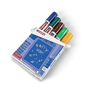 edding 4090-099 - Caja con 5 marcadores de tiza líquida para pizarras y vidrio con punta biselada, colores azul, verde, marrón, verde claro y naranja neón